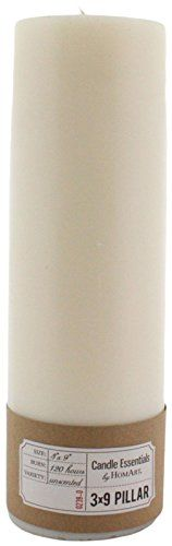 HomArt Pillar Paraffin Wax Candle, 3-Inch by 9-Inch, Ivory