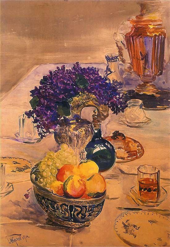 Leon Wyczółkowski. Martwa natura z samowarem.   1911.