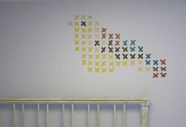 great idea for making design on a wall! Cross-Stitch with Washi Tape