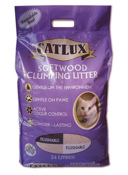 Catlux Softwood Clumping Litter - Available in 6L, 24L and 30L Bags
