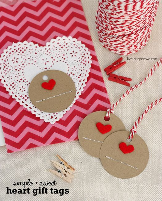 Simple and Sweet Handmade Heart Gift Tags with livelaughrowe.com