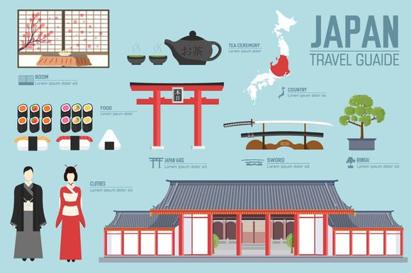 Japan country flat vector icons set by Sir.Enity on Creative Market