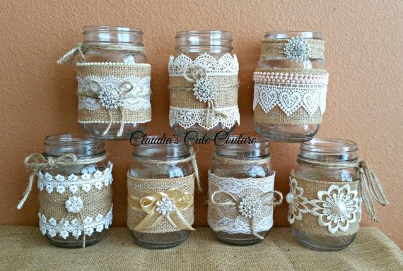 Burlap Mason jar Rustic wedding Country di ClaudiasCuteCouture