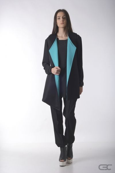 Crepe Black Collar black vest from high-tech fabric and blue lapels and black pants. Check out the online store for details