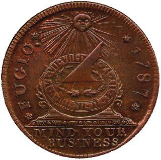 """The first US Penny, designed by Ben Franklin, had the logo """"MIND YOUR BUSINESS"""""""