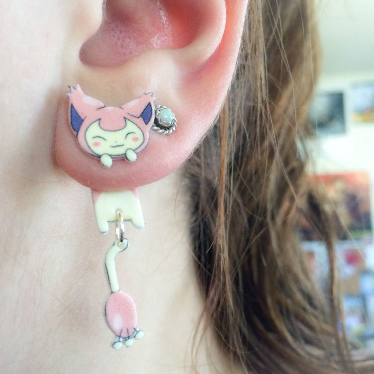 Kawaii Pokemon Skitty Clinging Earrings by AlexsMisfitToys on Etsy https://www.etsy.com/listing/228322609/kawaii-pokemon-skitty-clinging-earrings