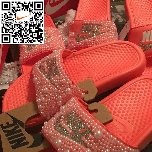 Nike Shoes - Bedazzled Nike Slides