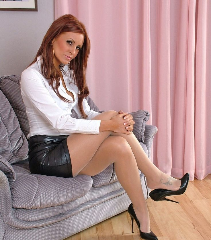 Sheer Shimmer Pantyhose Short Tight Leather Skirt White Blouse and Black Stiletto High Heels ...