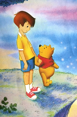 """And by and by Christopher Robin came to the end of things, and he was silent, and he sat there, looking out over the world, just wishing it wouldn't stop."""