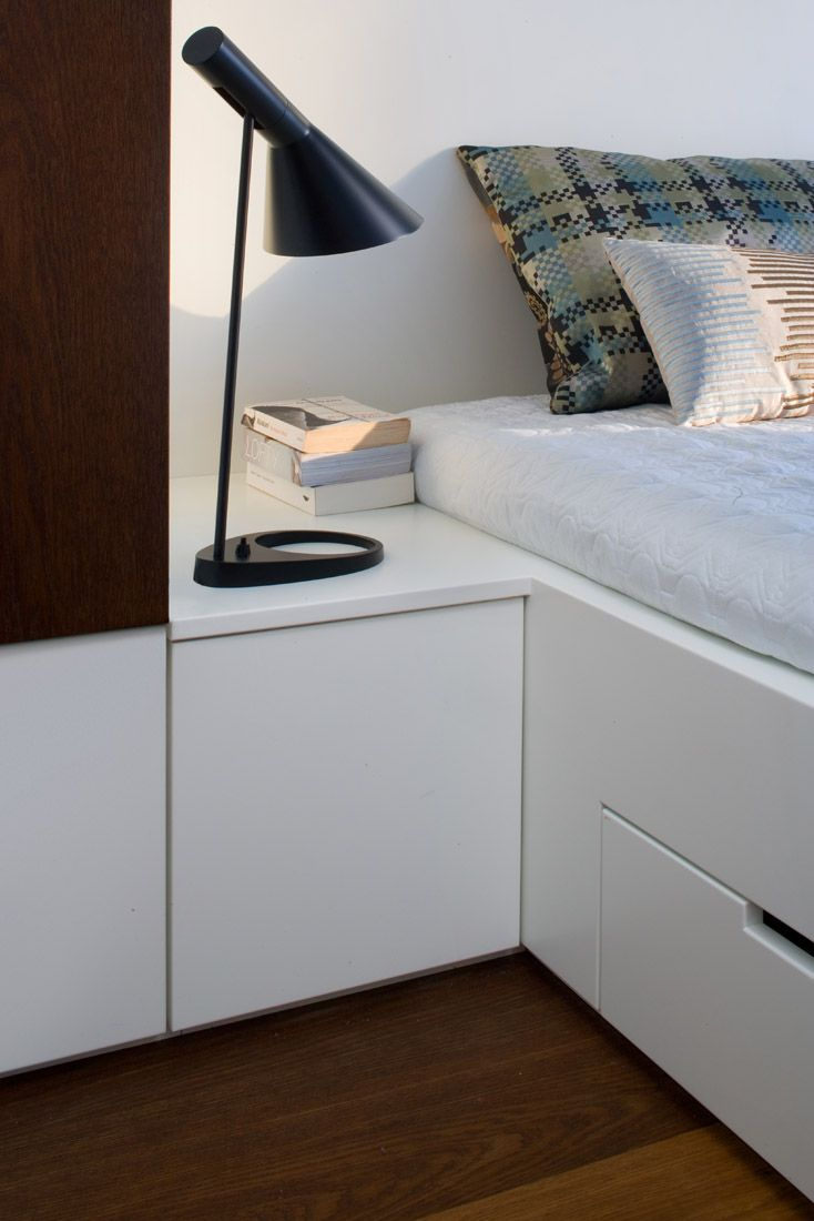 bedroom custom made furniture by idstudio  and the Alvar Aalto bedside table lamp