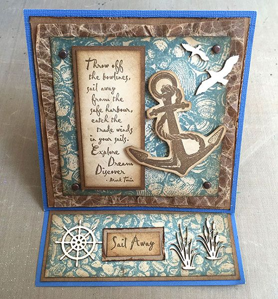 Seaside Easel Card taught by Rachel Greig on the 2015 Stamping Cruise using Darkroom Door stamps: Pebbles Background, Shells Background, Anchor Eclectic Stamp and Sail Away Rubber Stamps.
