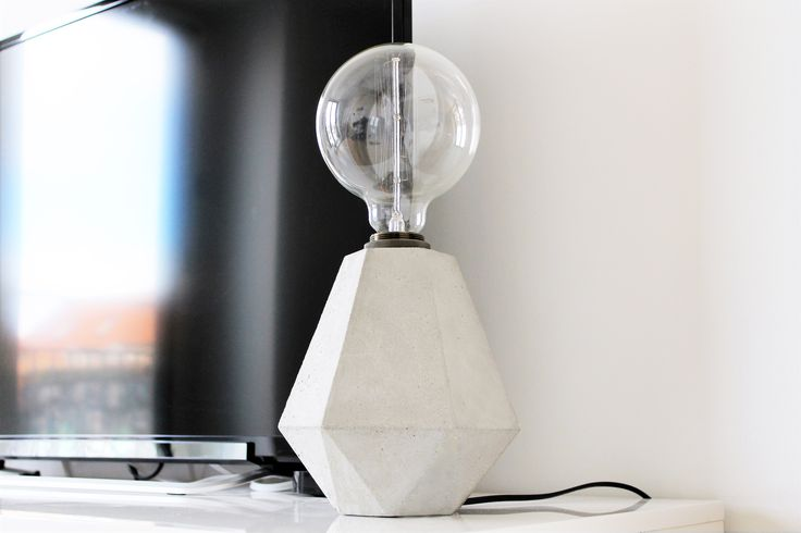 Handcrafted concrete lamp by Edgy + Rocks
