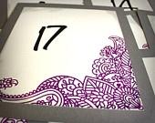 Purple Mehndi Table Numbers Wedding Indian Eastern Tattoo Custom Wedding Sign Gray Ivory