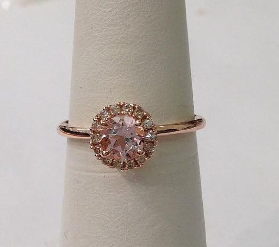 Rond Or Rose Morganite bague diamant Halo 14k bande Simple or rose fiançailles mariage promesse
