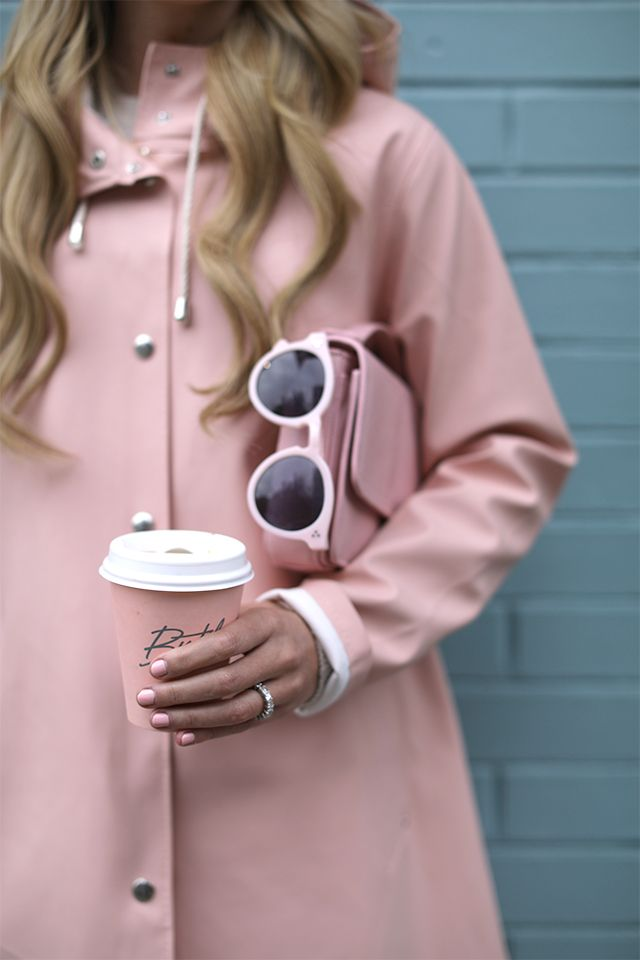 All of the pink details // coat, bag, sunnies, nails, and coffee! #pink #raincoat