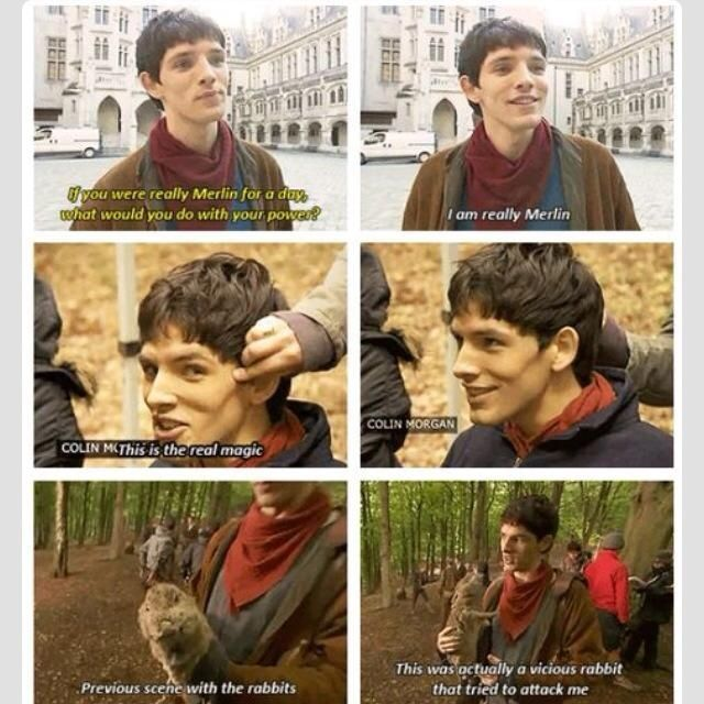 He sounds like a committed fanboy :D 'MERLIN IS REAL!' 'But-' 'Shut up Bradley, Merlin's real, I AM MERLIN!!'