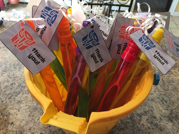 Party Favor Bubble Wands for Transformers Birthday