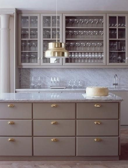 grayButler Pantries, Cabinets Colors, Brass Hardware, Grey Cabinets, Marbles, Grey Kitchens, Gold Accent, Gray Cabinets, Kitchens Cabinets
