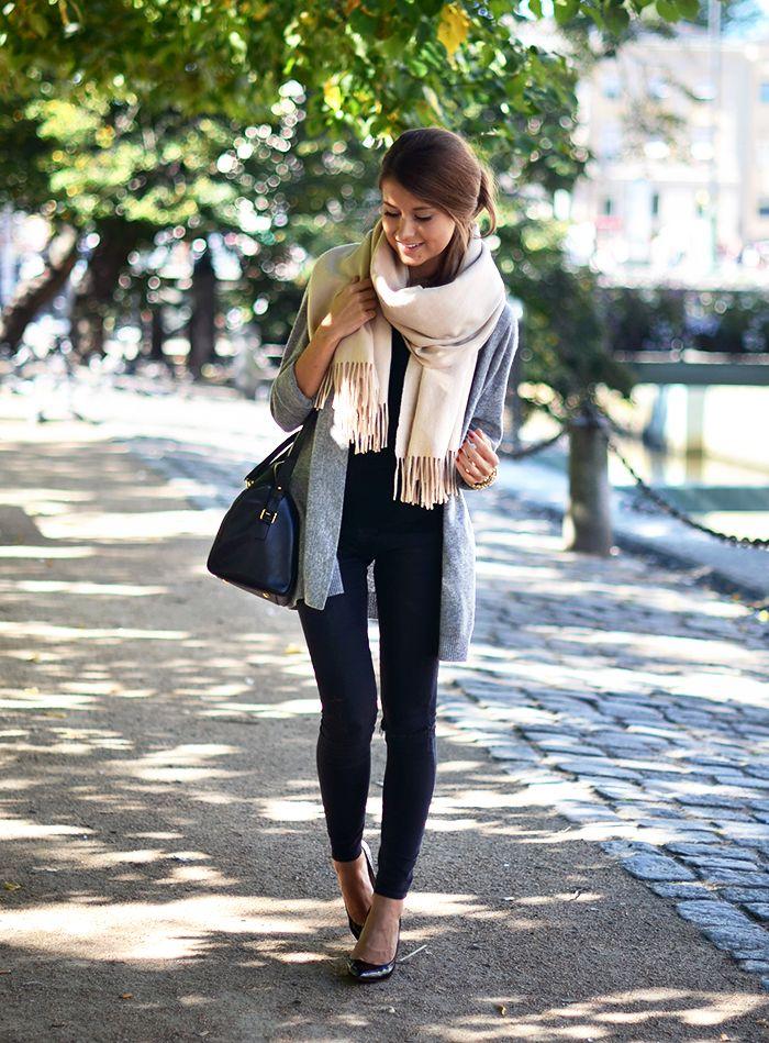 scarf + sweater + leggings