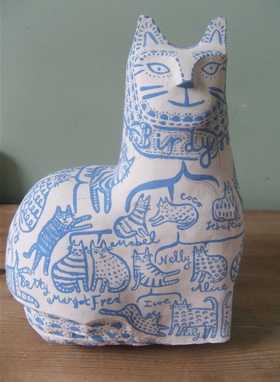 handmade ceramics by vicky lindo  Vicky Lindo free-hand drawings on ceramics