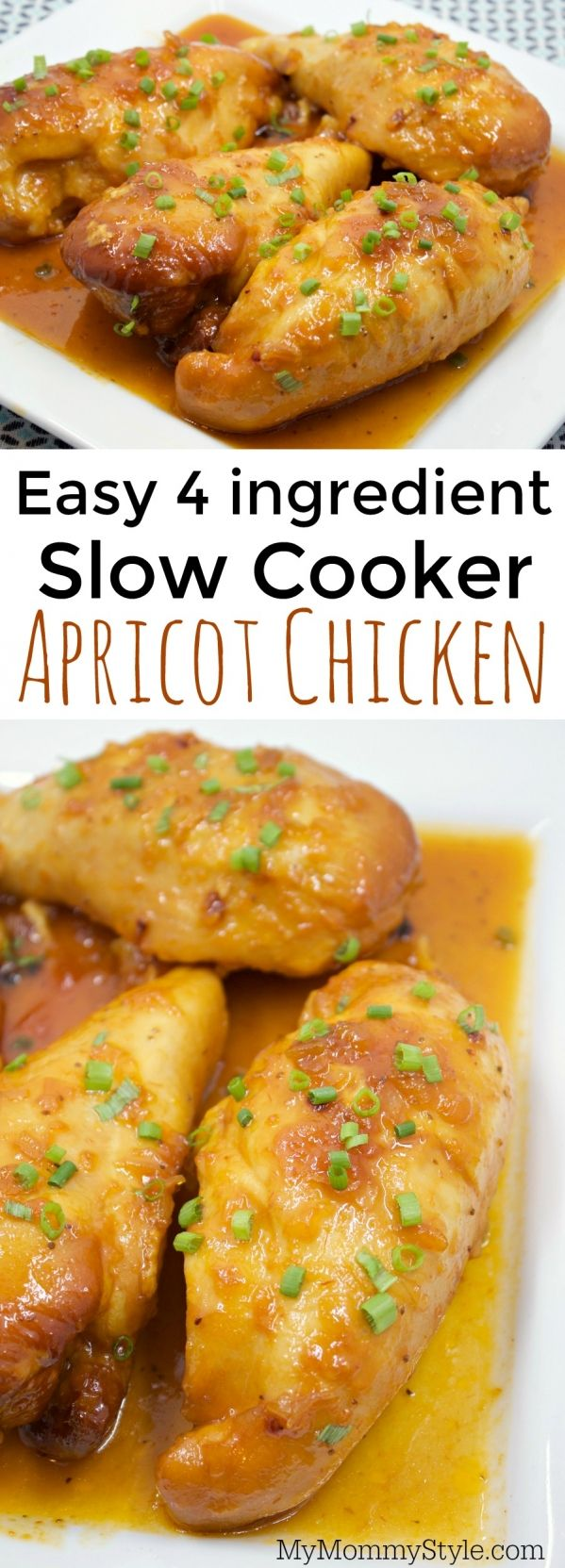Easy apricot chicken, a great slow cooker recipe that the family will love and it's a 4 ingredient recipe that only takes about 5 minutes prep time!