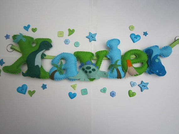Personalised DINOSAURS THEMED Name Banner by WillowMoonShop, £12.00