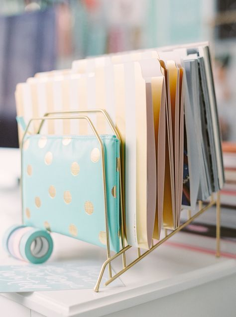 gold desk accessories as pretty as they come Photography: Milton Photography - milton-photography.com Read More: http://www.stylemepretty.com/living/2014/11/11/pastel-infused-home-office/