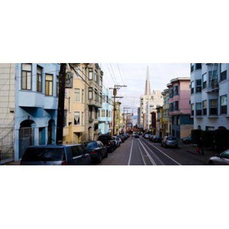 Cars parked on the street Transamerica Pyramid Washington Street San Francisco California USA Canvas Art - Panoramic Images (36 x 17)