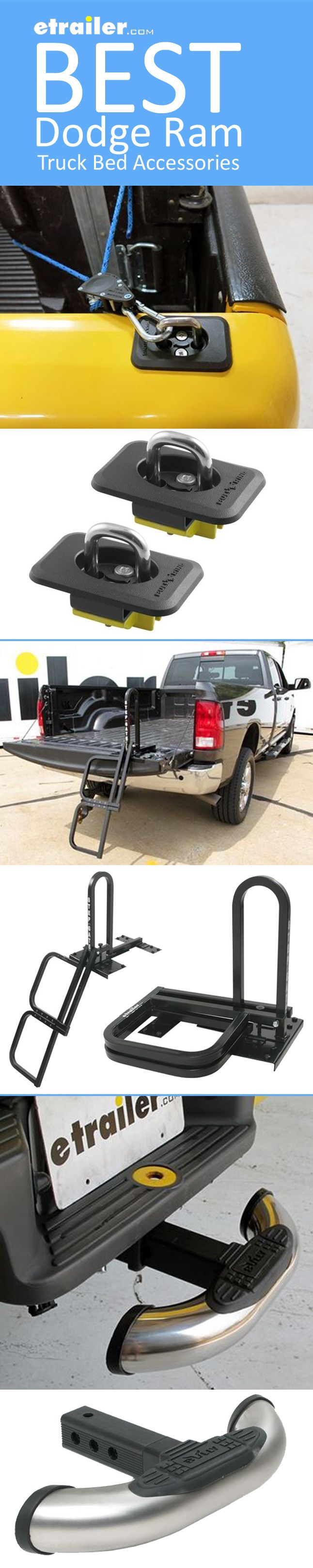 We have the list of the Best Ram Truck Bed Accessories! Tie Down Anchors to secure gear in your truck bed, Tailgate or Trailer Hitch Step to easily access your truck bed, LED Light Strip,  Cargo Control Bar and more. This list has everything you need for your truck bed!
