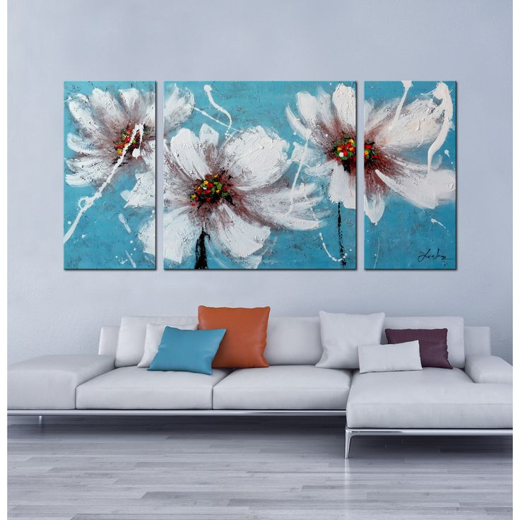 Title heaven blue product type hand painted gallery for Blue paintings on canvas