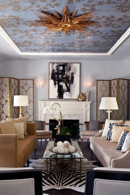 I'm not crazy about the copper light fixture or the busy wallpaper, but I love the way they did the ceiling with crown molding.  It's similiar to the tray ceilings I like so much.