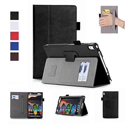 Lenovo Tab 4 plus 8 inch Case TB-8704F/N-Premium PU Leather Case Smart Auto Wake/Sleep Cover with Hand Strap, Card Slots,Ultra Slim Magnetic Smart Cover Case for Lenovo Tab4 plus 8 inch tablet (Black) #Lenovo #plus #inch #Case #Premium #Leather #Smart #Auto #Wake/Sleep #Cover #with #Hand #Strap, #Card #Slots,Ultra #Slim #Magnetic #tablet #(Black)