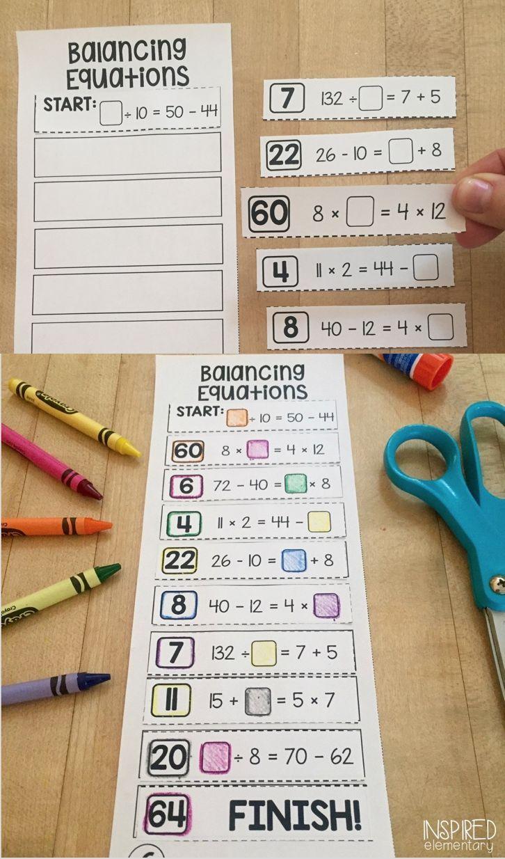 Balancing Equations Solve It Strips Balancing Equations Math Activities Elementary Equations