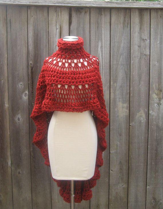 Knitting Pattern Turtleneck Capelet : RED CAPE PONCHO Crochet, Knit, Shawl, Sweater, Turtleneck Poncho, Boho, Bohem...