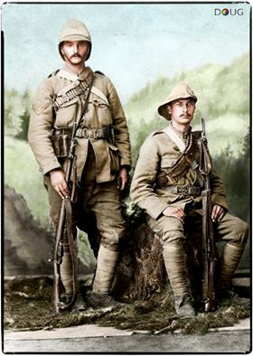 British Mounted Infantrymen during the Anglo-Boer War, Johannesburg, 1900. They both carry the Lee Metford Rifle also the Corporal has a Foreign Service Helmet whereas the Private wears a 'slouch' hat. http://www.facebook.com/ColouriseHistory