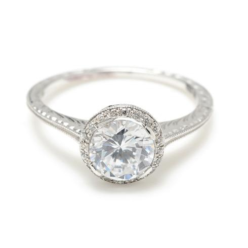 Greenwich Jewelers | Beverley K Delicate Milgrain Round Diamond Ring