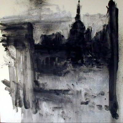 John Virtue - monoprint (John Virtue paintings, plastic arts, fine arts,visual arts)