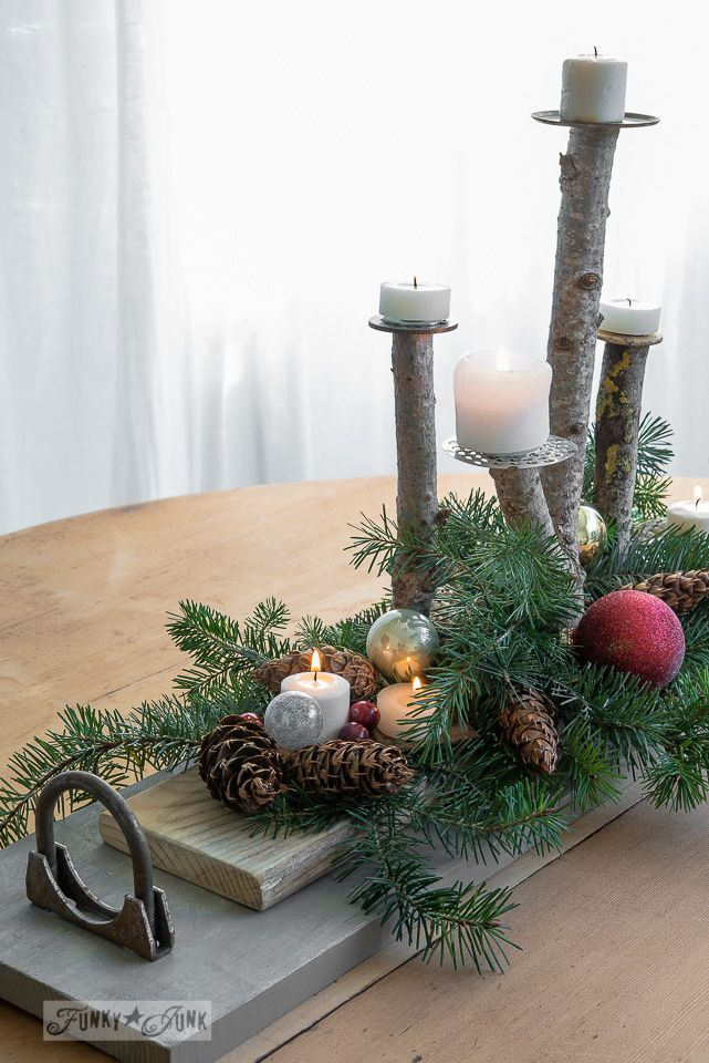Branch candle Christmas centrepiece with junk tray via FunkyJunkInteriors.net #12days72ideas