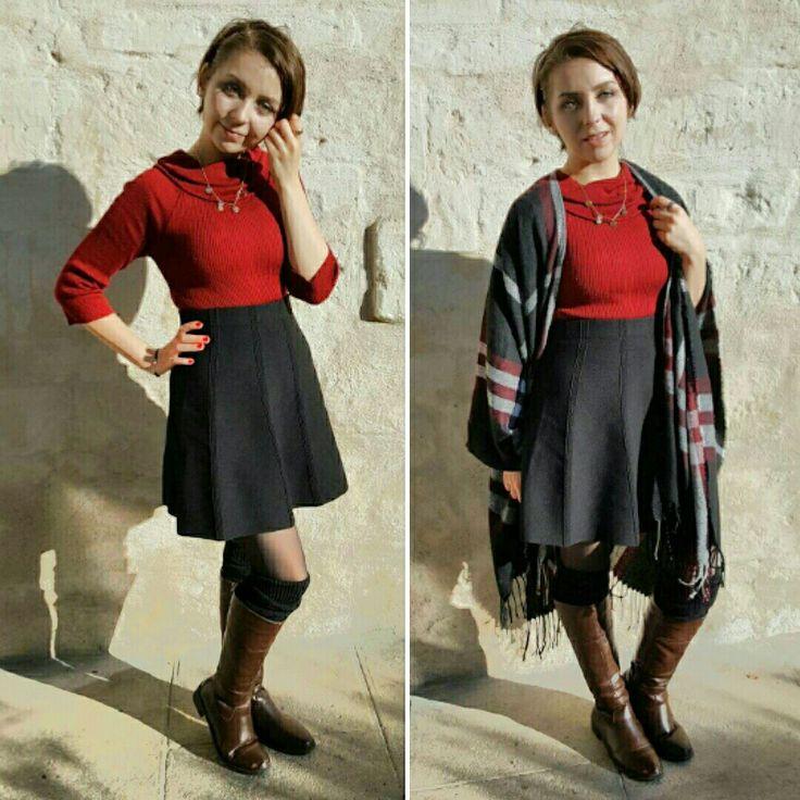 Haut: Trouvée au fond de mon placard 😂 Jupe: Zara Collant: Dim  (45Den) Chaussures: André Châle:Gémo  Pour les guettes il s'agit d'un vieux tricot dont j'ai coupée les manches pour lui donner une seconde vie💖  #looseweigth #mode #cloth #fall #lovefall #h&m #zara #lovemode #Love #ootd #red #skirt #tall #highwaist #boots #coldcloth