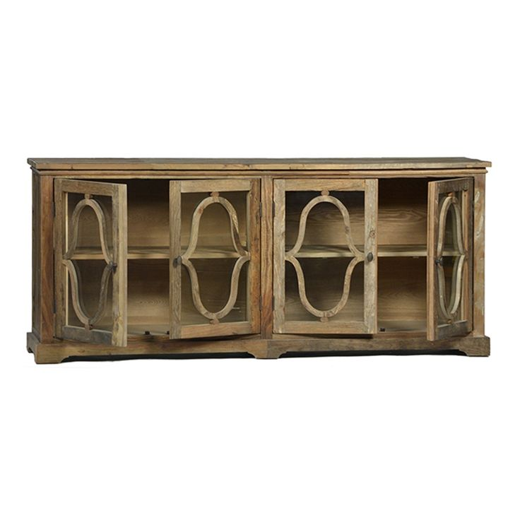 """WALTON ELM WOOD SIDEBOARD <BR><BR> • 78"""" L x 20"""" D x 34"""" H<BR> • Built from Reclaimed Elm<BR> • Glass Panels in Doors <BR><BR> To respect the item's old wood aesthetic we do not apply any sealer. The applied wax allows the table to age naturally over time. Coasters, placemats, and tablecloths must be used to protect the item from marking. Knots, gouges, cracks and nail holes are inherent characteristics of this wood product and does not constitute damage/defects. Claims will not be con..."""