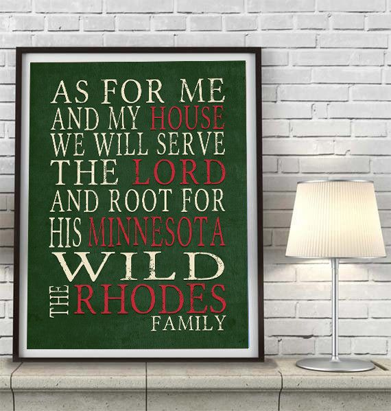 "Minnesota Wild hockey inspired Personalized Customized Art Print- ""As for Me"" Parody- Unframed Print"