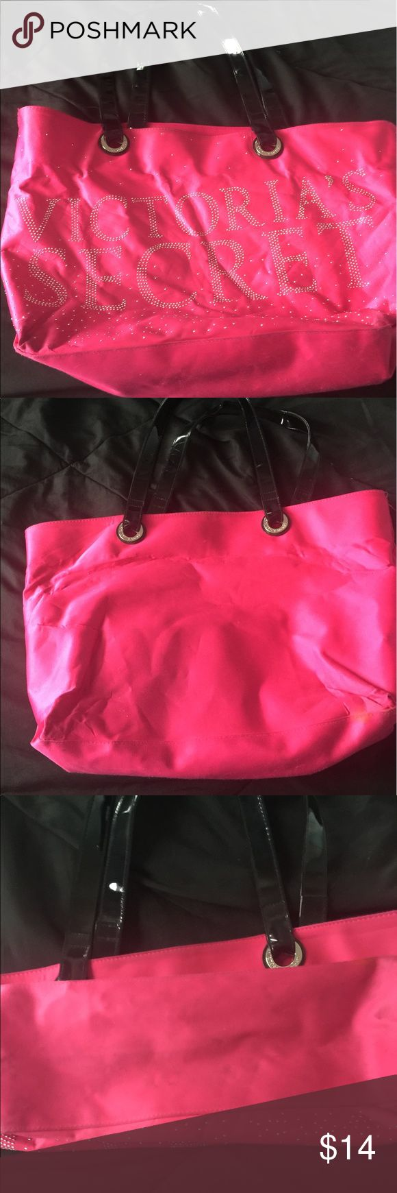 Tote bag Used but still in good condition. Has a few minor flaws as shown in pictures but should come out with a good wash or wipe down. Reversible, great beach bag!!!! PINK Victoria's Secret Bags Totes