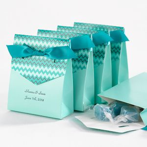 Chevron Tent Teal Personalized Favor Box (Set of 25 for $26) from Wedding Favors Unlimited