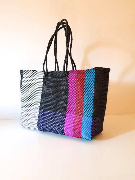 Beach bag Made in Oaxaca Market Bag LARGE MEXiCAN PLASTiC BAG Oaxaca Handwoven Tote