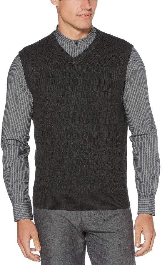b5bec3fb9a Perry Ellis Big   Tall Solid Textured V-Neck Sweater Vest