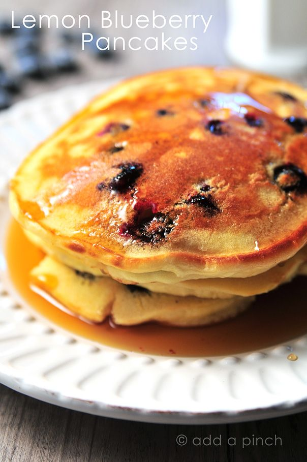 Going to try this- AWESOME Lemon Blueberry Pancakes - I made these for dinner one night and devoured them. So much better than a box mix, and this is a really simple recipe using lemon juice and blueberries (I used frozen). These will be my go-to pancakes, 2nd only to chocolate chip. YUM!