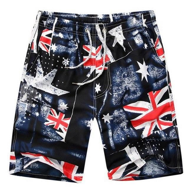 Summer Plus Size Board Shorts Men Printed Camouflage Surf Beach Shorts Male Quick Dry Plaid Loose Shorts L XL