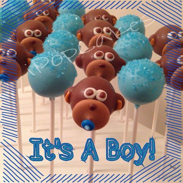 I Pop Cakes: Monkey theme baby shower cake pops