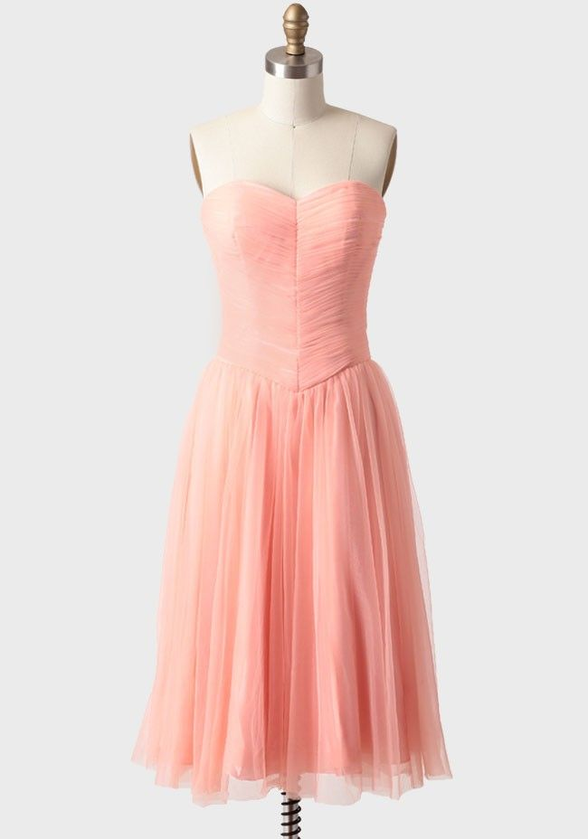 Peach Perfection Tulle Dress - ruche