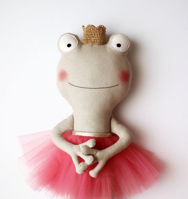 The frog princess. Handmade stuffed animal with a coral tulle skirt and a golden crocheted crown. Gift ideas for girls. Nursery decoration. by blita on Etsy https://www.etsy.com/listing/233152433/the-frog-princess-handmade-stuffed